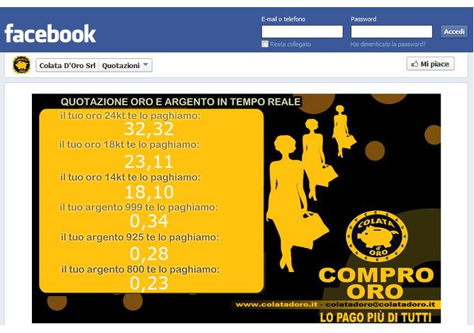 Gestione di pagina facebook con sviluppo di personalizzazione di quotazione oro in tempo reale