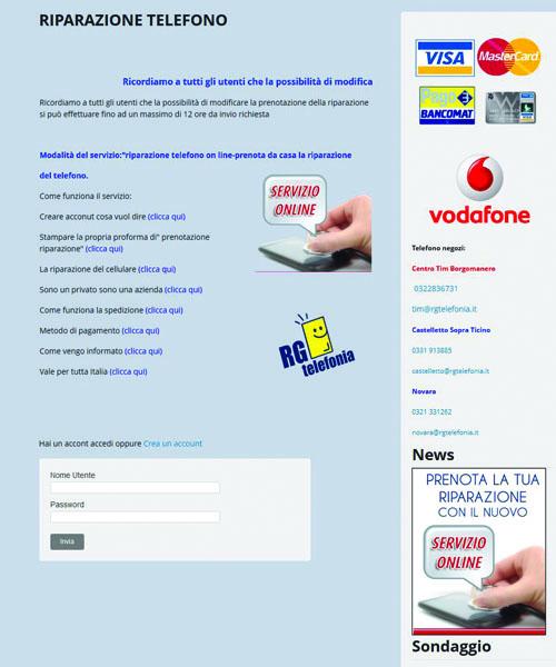 Programma interattivo di gestione e pagamenti online di riparazione telefoniche..